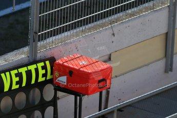 World © Octane Photographic Ltd. Scuderia Ferrari SF15-T– Sebastian Vettel pit box. Sunday 22nd February 2015, F1 Winter test #2, Circuit de Barcelona, Catalunya, Spain, Day 4. Digital Ref: 1191LB1D9543