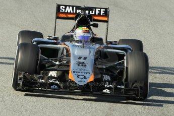 World © Octane Photographic Ltd. Sahara Force India VJM08 – Sergio Perez. Sunday 1st March 2015, F1 Winter test #3, Circuit de Barcelona-Catalunya, Spain Test 2 Day 4. Digital Ref: 1195CB1L4609
