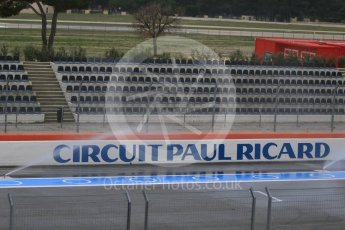 World © Octane Photographic Ltd. Pirelli wet tyre test, Paul Ricard, France. Monday 25th January 2016. The deluge system soaking the track prior to the session start. Digital Ref : 1498CB7D5071