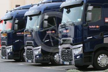 orld © Octane Photographic Ltd. Pirelli wet tyre test, Paul Ricard, France. Monday 25th January 2016. Red Bull Racing trucks. Digital Ref: 1498CB7D5082