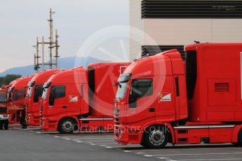 World © Octane Photographic Ltd. Pirelli wet tyre test, Paul Ricard, France. Monday 25th January 2016. Ferrari trucks. Digital Ref: 1498CB7D5084