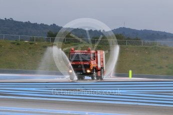 World © Octane Photographic Ltd. Pirelli wet tyre test, Paul Ricard, France. Monday 25th January 2016. Deluge system getting help by support vehicles. Digital Ref: 1498CB7D5142
