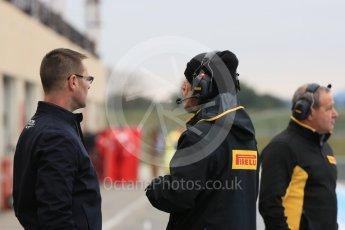 World © Octane Photographic Ltd. Pirelli wet tyre test, Paul Ricard, France. Monday 25th January 2016. Pirelli and FIA personnel talk. Digital Ref: 1498LB5D5150