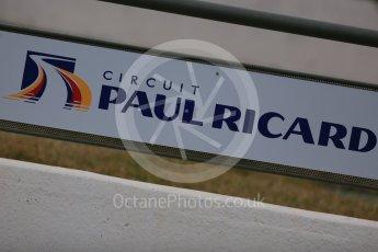 World © Octane Photographic Ltd. Pirelli wet tyre test, Paul Ricard, France. Monday 25th January 2016. Paul Ricard logo. Digital Ref: 1498LB5D5172