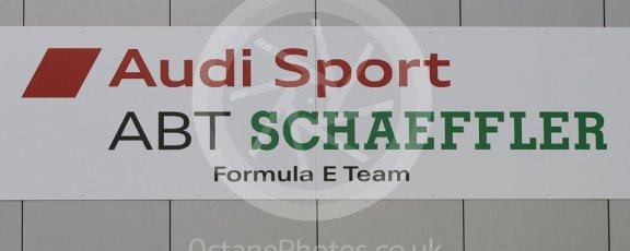 World © Octane Photographic Ltd. 5th February 2016 – Donington Park Formula e HQ. Audi Sport ABT Schaeffler Formula e team logo. Digital Ref : 1501CB1D0454