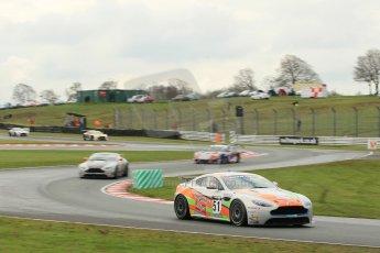 World © Octane Photographic Ltd. Avon Tyres British GT Championship Practice, Oulton Park, UK, Saturday 4th April 2015. Aston Martin GT4 Challenge – Pro/Am, Stratton – Jade Edwards and Chloe Edwards. Digital Ref :