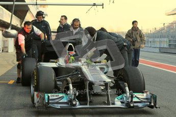 World © Octane Photographic 2011. Formula 1 testing Monday 21st February 2011 Circuit de Catalunya. Mercedes MGP W02 - Michael Schumacher. Digital ref : 0012CB5D0276