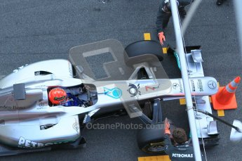 World © Octane Photographic 2011. Formula 1 testing Monday 21st February 2011 Circuit de Catalunya. Mercedes MGP W02 - Michael Schumacher. Digital ref : 0012CB1D2774