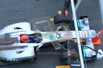 World © Octane Photographic 2011. Formula 1 testing Monday 21st February 2011 Circuit de Catalunya. Mercedes MGP W02 - Michael Schumacher. Digital ref : 0012CB1D2776