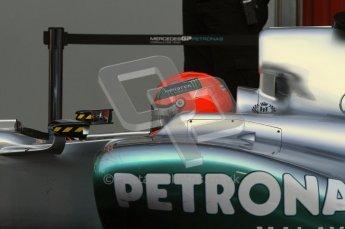 World © Octane Photographic 2011. Formula 1 testing Monday 21st February 2011 Circuit de Catalunya. Mercedes MGP W02 - Michael Schumacher. Digital ref : 0012LW7D5376