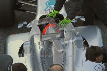 World © Octane Photographic 2011. Formula 1 testing Monday 21st February 2011 Circuit de Catalunya. Mercedes MGP W02 - Michael Schumacher. Digital ref : 0012LW7D5485