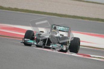 © Octane Photographic 2011. Formula 1 testing Sunday 20th February 2011 Circuit de Catalunya. Mercedes MGP W02 - Nico Rosberg. Digital ref : 0010CB1D1905