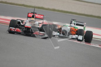 © Octane Photographic 2011. Formula 1 testing Sunday 20th February 2011 Circuit de Catalunya. McLaren MP4/26 - Lewis Hamilton, Force India VJM04 - Adrian Sutil. Digital ref : 0010CB1D1915