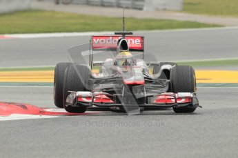 © Octane Photographic 2011. Formula 1 testing Sunday 20th February 2011 Circuit de Catalunya. McLaren MP4/26 - Lewis Hamilton. Digital ref : 0010CB1D2175