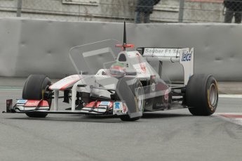 © Octane Photographic 2011.. Formula 1 testing Sunday 20th February 2011 Circuit de Catalunya. Sauber C30 - Sergio Perez. Digital ref : 0010CB1D2296