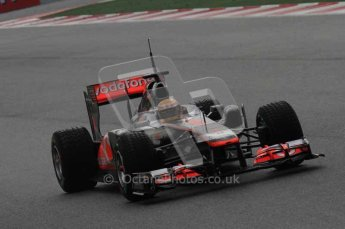 © Octane Photographic 2011. Formula 1 testing Sunday 20th February 2011 Circuit de Catalunya. McLaren MP4/26 - Lewis Hamilton. Digital ref : 0010LW7D2226