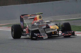 © Octane Photographic 2011. Formula 1 testing Sunday 20th February 2011 Circuit de Catalunya. Red Bull RB7 - Mark Webber. Digital ref : 0010LW7D2445