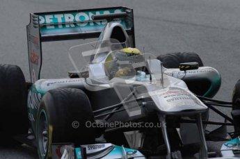 © Octane Photographic 2011. Formula 1 testing Sunday 20th February 2011 Circuit de Catalunya. Mercedes MGP W02 - Nico Rosberg. Digital ref : 0010LW7D2477
