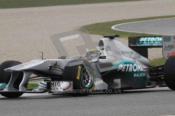 © Octane Photographic 2011. Formula 1 testing Sunday 20th February 2011 Circuit de Catalunya. Mercedes MGP W02 - Nico Rosberg. Digital ref : 0010LW7D3666