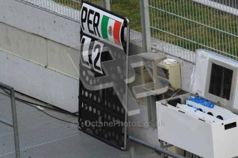 © Octane Photographic 2011. Formula 1 testing Sunday 20th February 2011 Circuit de Catalunya. Sauber - Sergio Perez' pit board. Digital ref : 0010LW7D4910