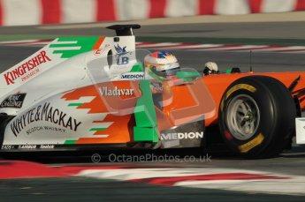 World © Octane Photographic 2010. © Octane Photographic 2011. Formula 1 testing Saturday 19th February 2011 Circuit de Catalunya. Force India VJM04 - Paul di Resta.  Digital ref : 0025CB1D0264