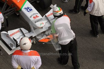 World © Octane Photographic 2011. Formula 1 testing Wednesday 9th March 2011 Circuit de Catalunya. Force India pit stop practice. Digital ref : 0020LW7D0462