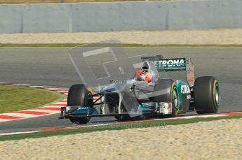 World © Octane Photographic 2011. Formula 1 testing Thursday 10th March 2011 Circuit de Catalunya. Mercedes MGP W02 - Michael Shumacher. Digital ref : 0023cb1d2881