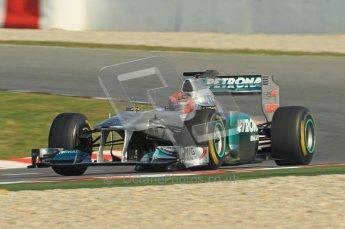 World © Octane Photographic 2011. Formula 1 testing Thursday 10th March 2011 Circuit de Catalunya. Mercedes MGP W02 - Michael Shumacher. Digital ref : 0023cb1d2917