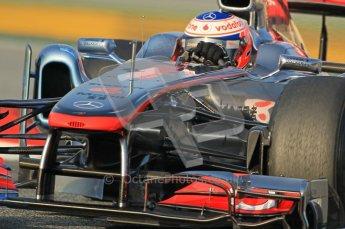 World © Octane Photographic 2011. Formula 1 testing Friday 11th March 2011 Circuit de Catalunya. McLaren MP4/26 - Jenson Button. Digital ref : 0022CB1D3303
