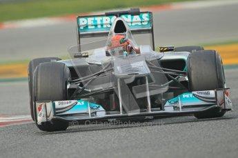 World © Octane Photographic 2011. Formula 1 testing Friday 11th March 2011 Circuit de Catalunya. Mercedes MGP W02 - Michael Schumacher. Digital ref : 0022CB1D3497