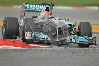 World © Octane Photographic 2011. Formula 1 testing Friday 11th March 2011 Circuit de Catalunya. Mercedes MGP W02 - Michael Schumacher. Digital ref : 0022CB1D3532