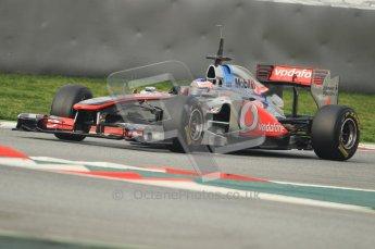 World © Octane Photographic 2011. Formula 1 testing Friday 11th March 2011 Circuit de Catalunya. McLaren MP4/26 - Jenson Button. Digital ref : 0022CB1D3594