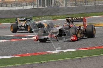 World © Octane Photographic 2011. Formula 1 testing Friday 11th March 2011 Circuit de Catalunya. Renault R31 - Nick Heidfeld. Lotus T124 - Heikki Kovalainen. Digital ref : 0022LW7D2120