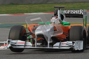 World © Octane Photographic 2011. Formula 1 testing Friday 11th March 2011 Circuit de Catalunya. Force India VJM04 - Adrian Sutil. Digital ref : 0022LW7D2574