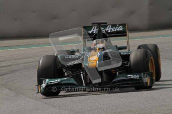 World © Octane Photographic 2011. Formula 1 testing Tuesday 8th March 2011 Circuit de Catalunya. Lotus T124 - Davide Valsecchi.  Digital ref : 0017LW7D7967