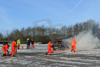 World © Octane Photographic Ltd. BMMC trainee marshals' fire training day, Donington Park. 26th January 2013. Digital Ref : 0568lw1d7111