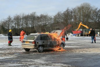 World © Octane Photographic Ltd. BMMC trainee marshals' fire training day, Donington Park. 26th January 2013. Digital Ref : 0568lw1d7266