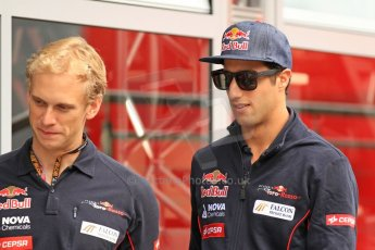 World © Octane Photographic Ltd. F1 Spanish GP Thursday 9th May 2013. Paddock and pitlane. Toro Rosso - Daniel Ricciardo. Digital Ref : 0654cb7d8463