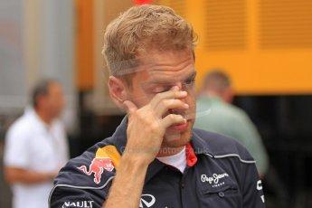 World © Octane Photographic Ltd. F1 Spanish GP Thursday 9th May 2013. Paddock and pitlane. Infiniti Red Bull Racing - Sebastian Vettel. Digital Ref : 0654cb7d8543
