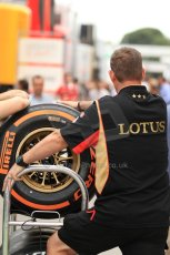 World © Octane Photographic Ltd. F1 Spanish GP Thursday 9th May 2013. Paddock and pitlane. Lotus Pirelli tyre trolly. Digital Ref : 0654cb7d8742