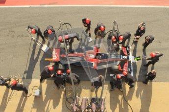 World © Octane Photographic 2011. Formula 1 testing Monday 21st February 2011 Circuit de Catalunya. Virgin MVR-02 - Jerome d'Ambrosio, pitstop practice. Digital ref : 0011CB1D2829