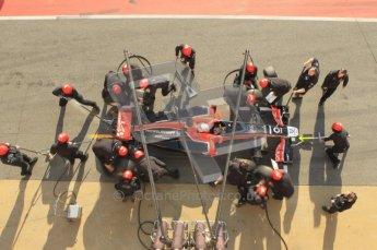 World © Octane Photographic 2011. Monday 21st February 2011 Circuit de Catalunya. Virgin MVR-02 - Jerome d'Ambrosio, pitstop practice. Digital ref : 0011CB1D2836