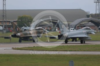 "World © Octane Photographic Ltd. October 6th 2015. RAF Coningsby. Eurofighter Typhoon FGR.4 ZK349 ""GN-A"", 29Sqn, Battle of Britain commemorative scheme and Eurofighter Typhoon FGR.4 ZK320 ""BR"". Digital Ref :  1454CB1D6605"