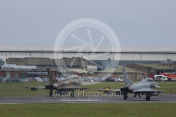 "World © Octane Photographic Ltd. October 6th 2015. RAF Coningsby. Eurofighter Typhoon FGR.4 ZK349 ""GN-A"", 29Sqn, Battle of Britain commemorative scheme and Eurofighter Typhoon FGR.4 ZK320 ""BR"". Digital Ref :  1454CB1D6662"