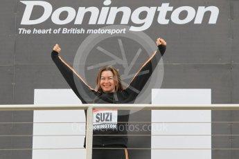 World © Octane Photographic Ltd. 5th February 2016 – Donington Park Racetrack. Suzi Perry launches the 2016 Donington Park Summer Running Festival. Digital Ref : 1500CB1D0354
