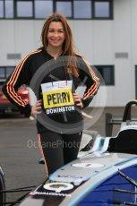 World © Octane Photographic Ltd. 5th February 2016 – Donington Park Racetrack. Suzi Perry launches the 2016 Donington Park Summer Running Festival with a Formula e car. Digital Ref : 1500CB7D6272