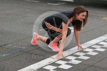 World © Octane Photographic Ltd. 5th February 2016 – Donington Park Racetrack. Suzi Perry launches the 2016 Donington Park Summer Running Festival. Digital Ref : 1500LB1D6614
