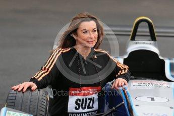 World © Octane Photographic Ltd. 5th February 2016 – Donington Park Racetrack. Suzi Perry launches the 2016 Donington Park Summer Running Festival with a Formula e car. Digital Ref : 1500LB1D6703