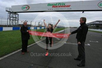 World © Octane Photographic Ltd. 5th February 2016 – Donington Park Racetrack. Suzi Perry and Brendan Foster launch the 2016 Donington Park Summer Running Festival. Digital Ref : 1500LB5D6273