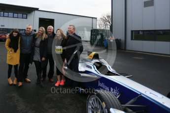 World © Octane Photographic Ltd. 5th February 2016 – Donington Park Racetrack. Suzi Perry and Brendan Foster launch the 2016 Donington Park Summer Running Festival with a Formula e car. Digital Ref : 1500LB5D6401